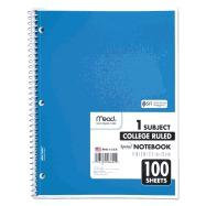 Details for Spiral Bound Notebook, Perforated, College Rule, 11 x 8, White, 100 Sheets